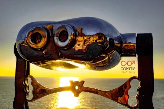 Longues vues en bord de mer avec le logo Comitis Partner